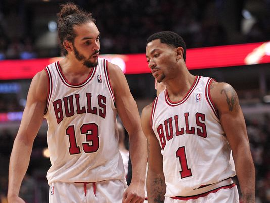 (USA Today) Derrick Rose and Joakim Noah during their win over Clevland