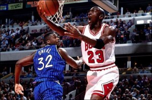 Michael Jordan in his 64 point performance against the Magic in 1993